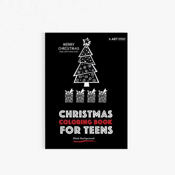 Christmas coloring book teens black background 30