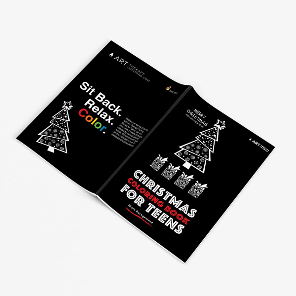 Christmas coloring book teens black background 32