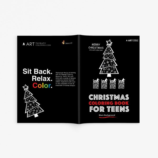Christmas coloring book teens black background 33