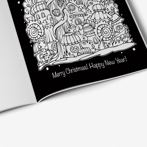 christmas coloring book teens black background 41
