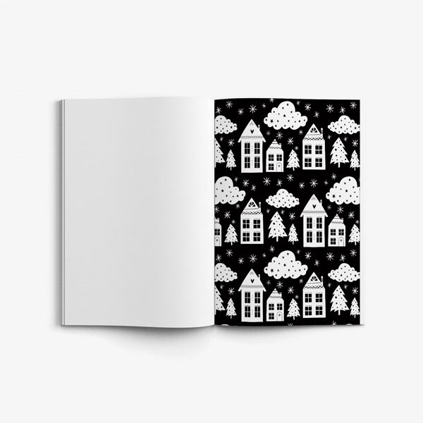 Christmas coloring book teens black background 57