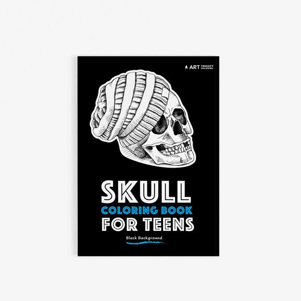 Coloring book for teens: skulls with black background - Art Therapy ...