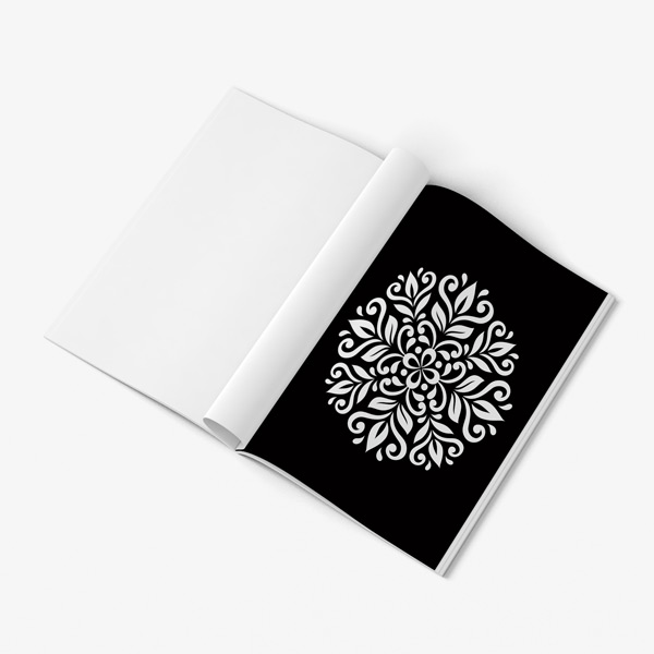 Mandala coloring book for seniors black background 40