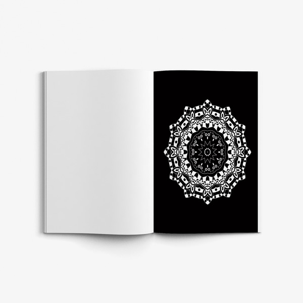 Mandala coloring book for seniors black background 57