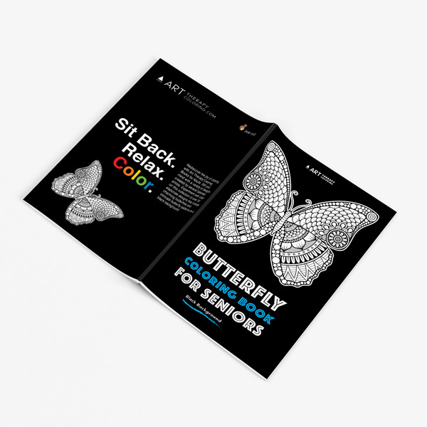 Butterfly coloring book for seniors with black background