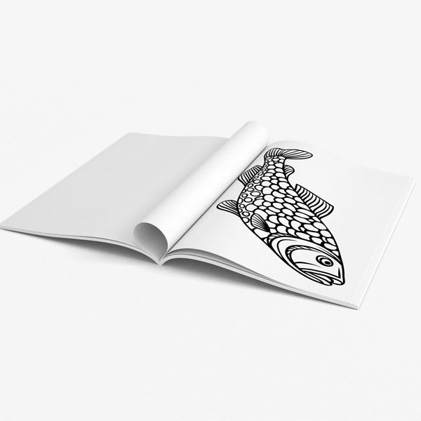 Coloring book for men: Fishing Designs