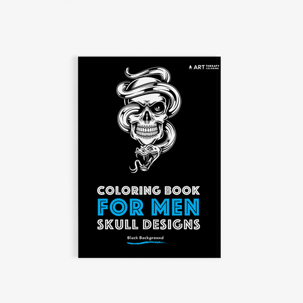 Coloring Book For Men Skull Designs With Black Background Art