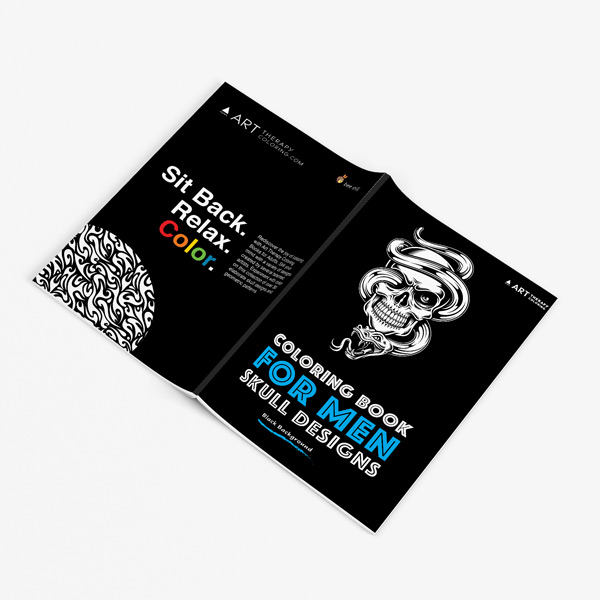 Coloring book for men: Skull designs with Black Background