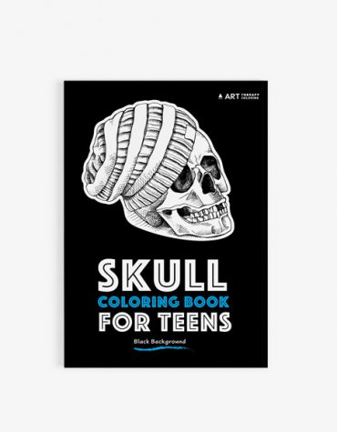 Coloring book for teens: skulls with black background