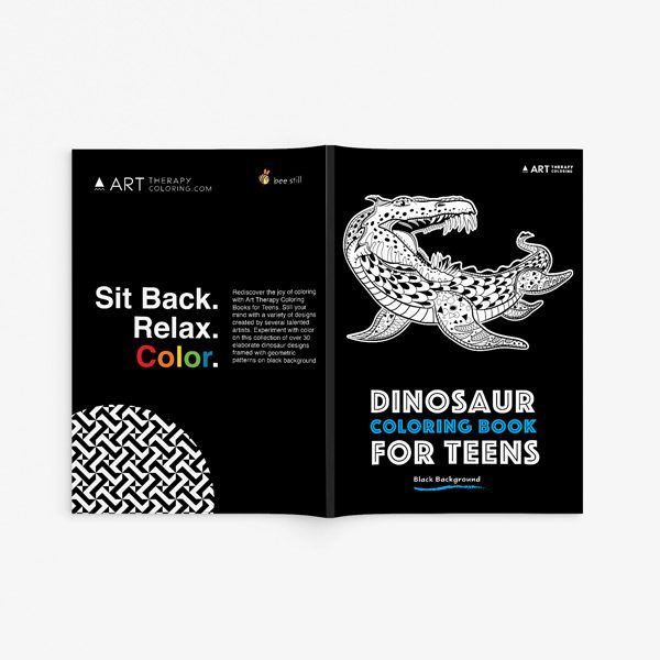 Dinosaur coloring book for teens with black background