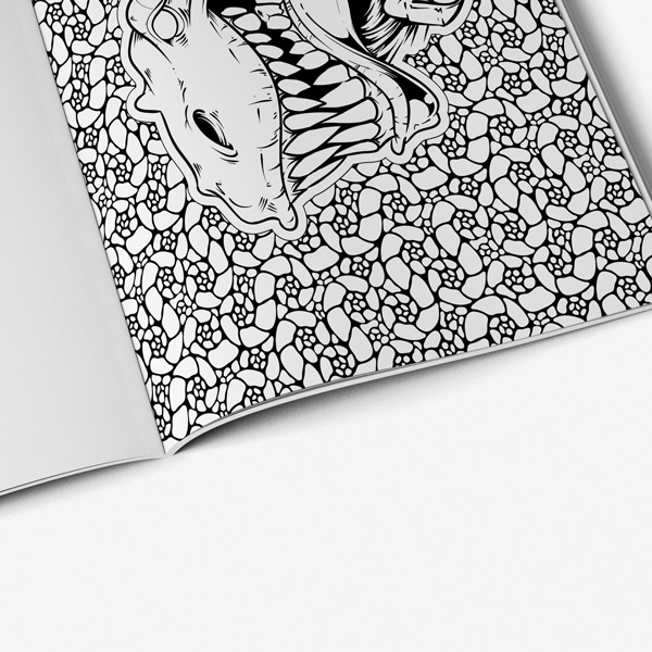 Dinosaur coloring book for teens with black background - Art Therapy ...