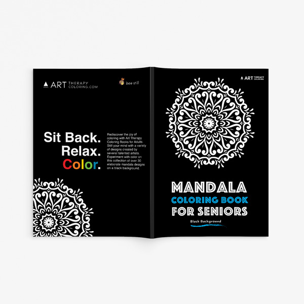 Mandala coloring book for seniors with black background