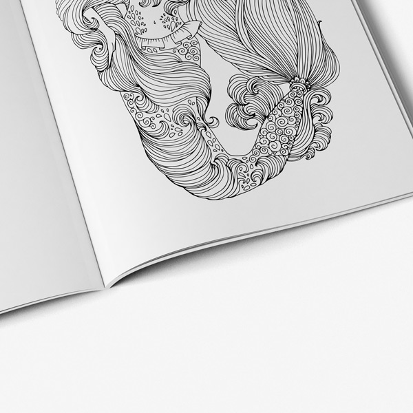 Mermaid coloring book for adults - Art Therapy Coloring