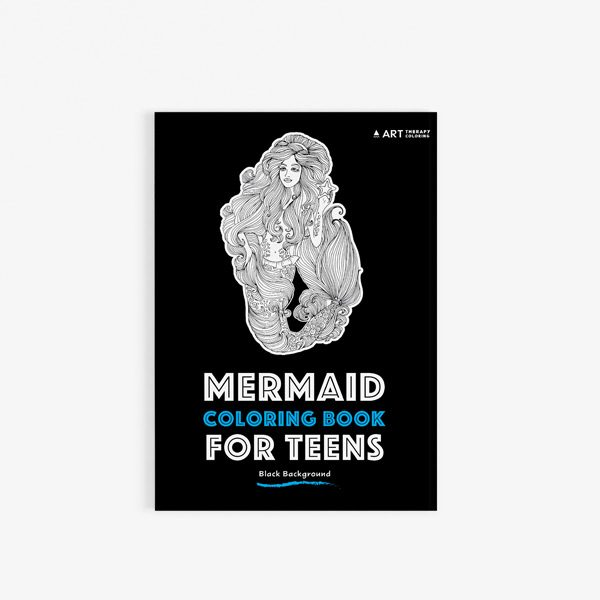 Mermaid coloring book for teens with black background