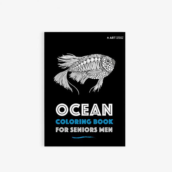 Ocean coloring book for seniors men