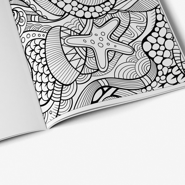 Ocean coloring book for seniors men - Art Therapy Coloring