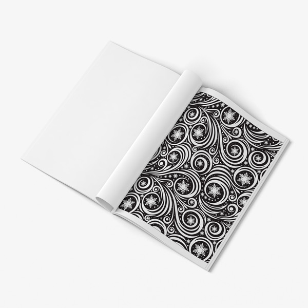 Swirls coloring book for adults with black background
