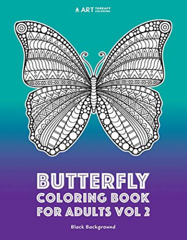 Butterfly coloring book for adults black background Vol 2