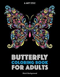 Butterfly coloring book for adults black background Vol 1