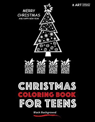 Christmas coloring book for teens black background