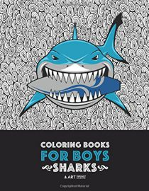 Coloring Books For Boys: Sharks: Advanced Coloring Pages for Tweens, Older Kids & Boys, Geometric Designs & Patterns