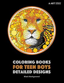 Coloring Books for Teen Boys: Detailed Designs: Black Background: Advanced Drawings for Teenagers & Older Boys
