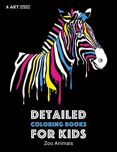 Detailed Coloring Books For Kids: Zoo Animals: Black Background: Midnight Edition