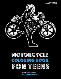 Motorcycle coloring book for teens with black background