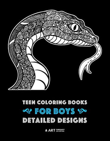 Teen Coloring Books for Boys: Complex Animal Drawings for Teenagers & Older Boys, Zendoodle Alligators, Snakes, Lizards, Spiders, Scorpions, Bats & More