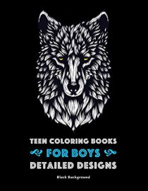 Teen Coloring Books for Boys: Detailed Designs: Black Background: Advanced Drawings for Teenagers & Older Boys