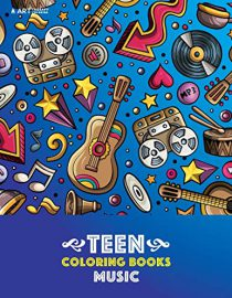 Teen Coloring Books: Music: Detailed Designs Of Guitars, Violins, Drums And More with Stress Relief Patterns