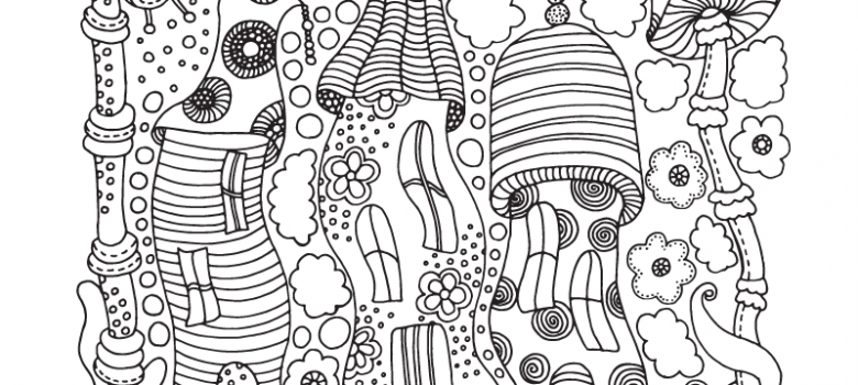 free advanced mushroom adult coloring page - Complex Coloring Pages