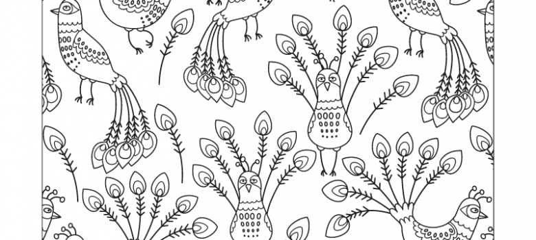 free peacock pattern coloring page for adults - Art Therapy Coloring Pages